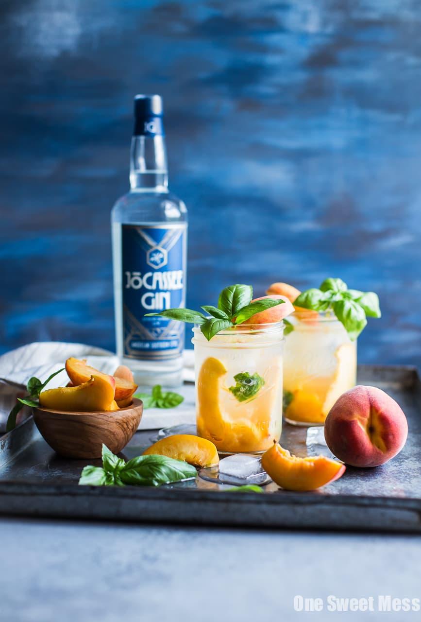 Peach Basil Gin Fizz Cocktail