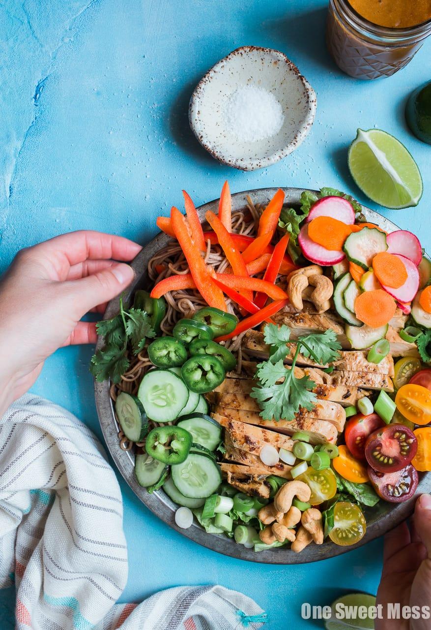 Pineapple Soy Glazed Chicken Bahn Mi Salad with Peanut Dressing