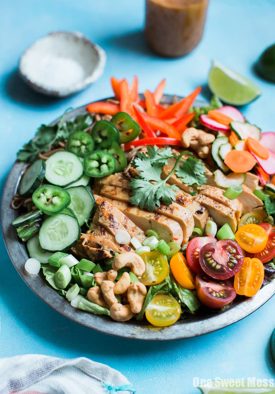 Pineapple Soy Glazed Chicken Bahn Mi Salad with Peanut Dressing