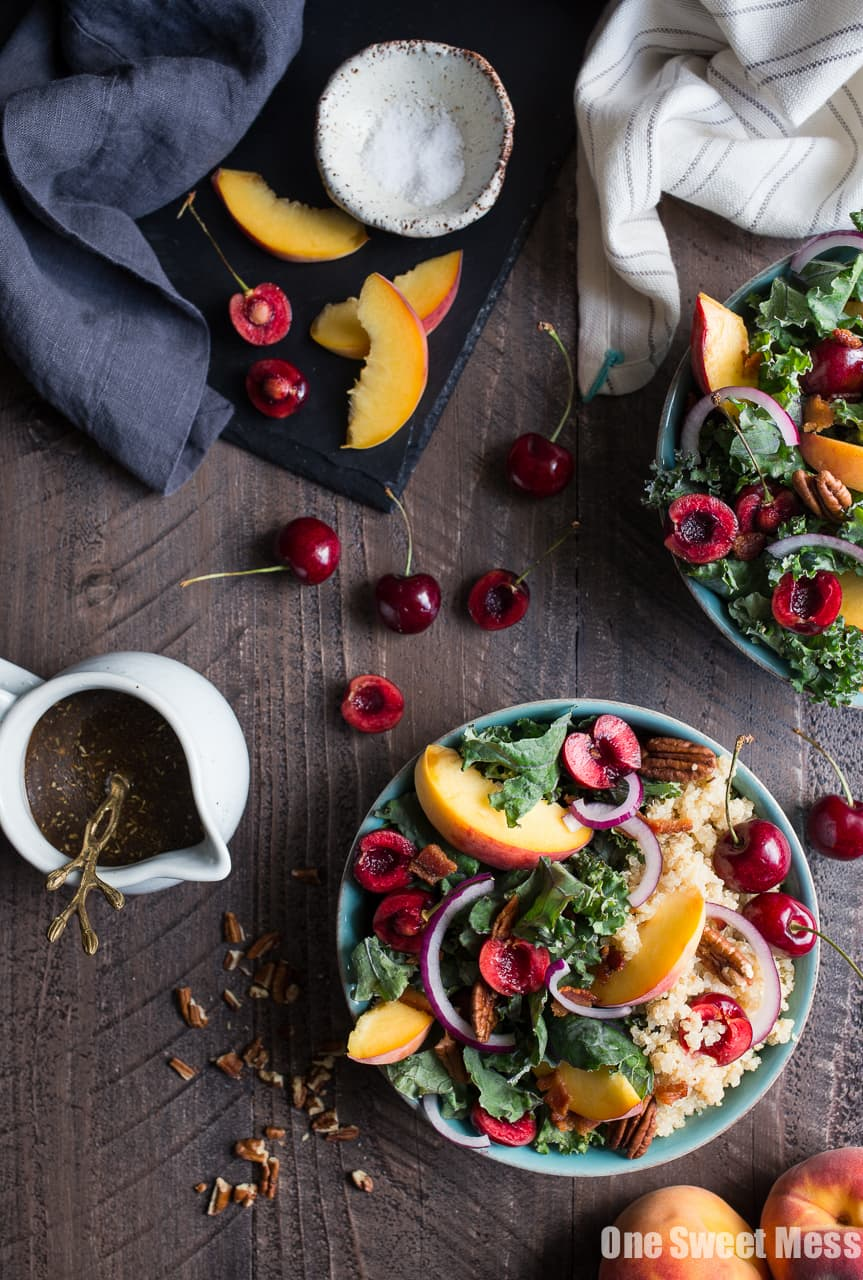 Summer Stone Fruit Kale and Quinoa Salad with Maple Balsamic Vinaigrette (Gluten-Free)
