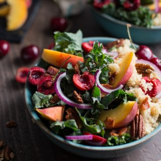 Summer Stone Fruit Kale and Quinoa Salad with Maple Balsamic Vinaigrette (Gluten-Free)