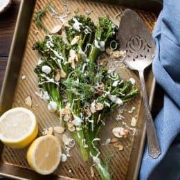 Roasted Broccolini with Dill Yogurt Sauce