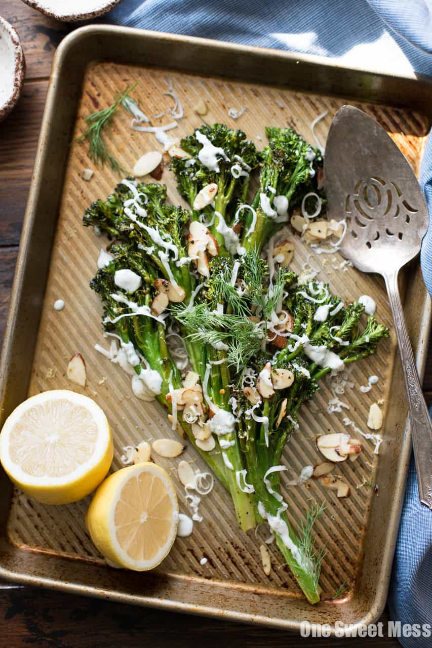 Roasted Broccolini with Dill Yogurt Sauce