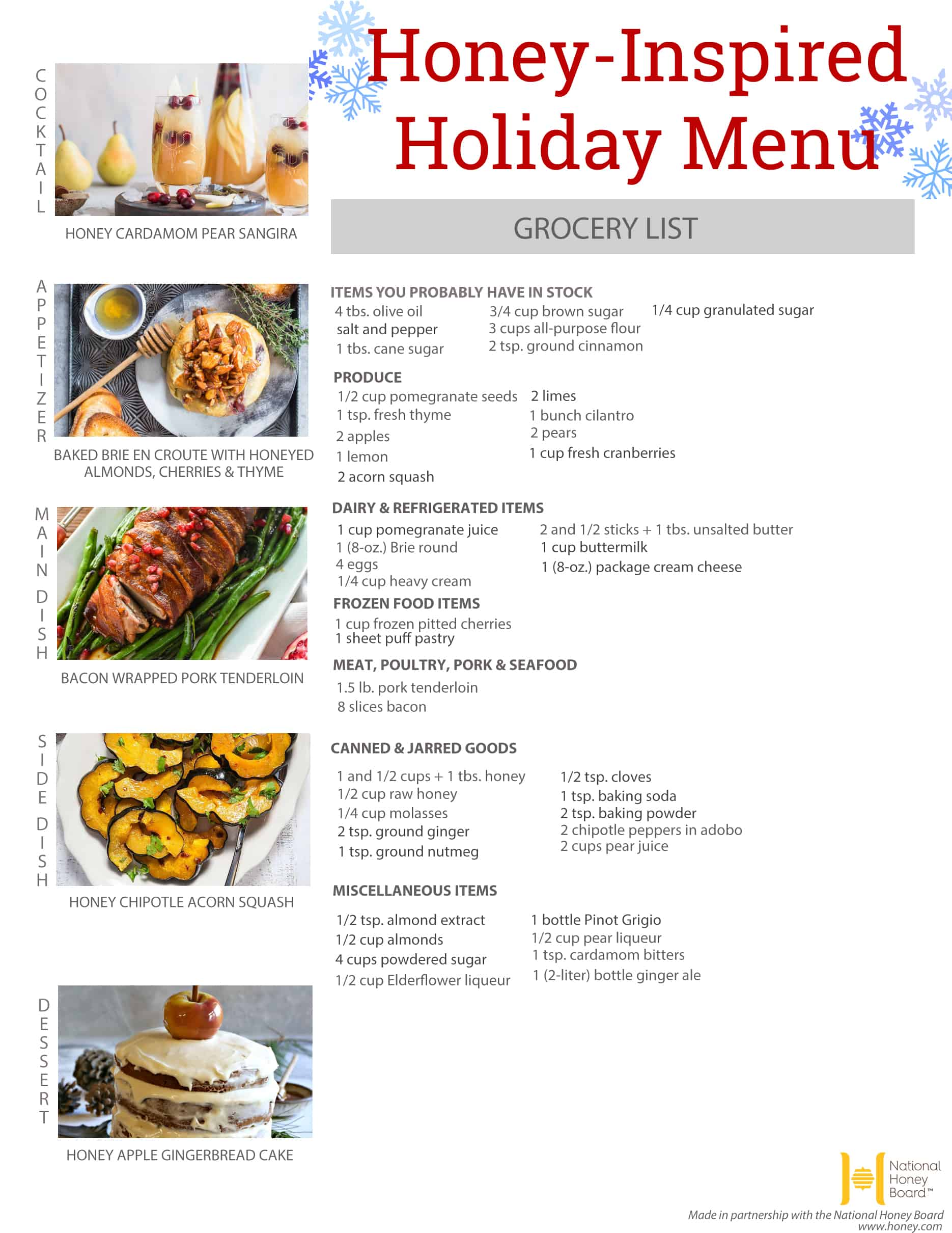 Honey-Inspired Holiday Menu + Printable Grocery List