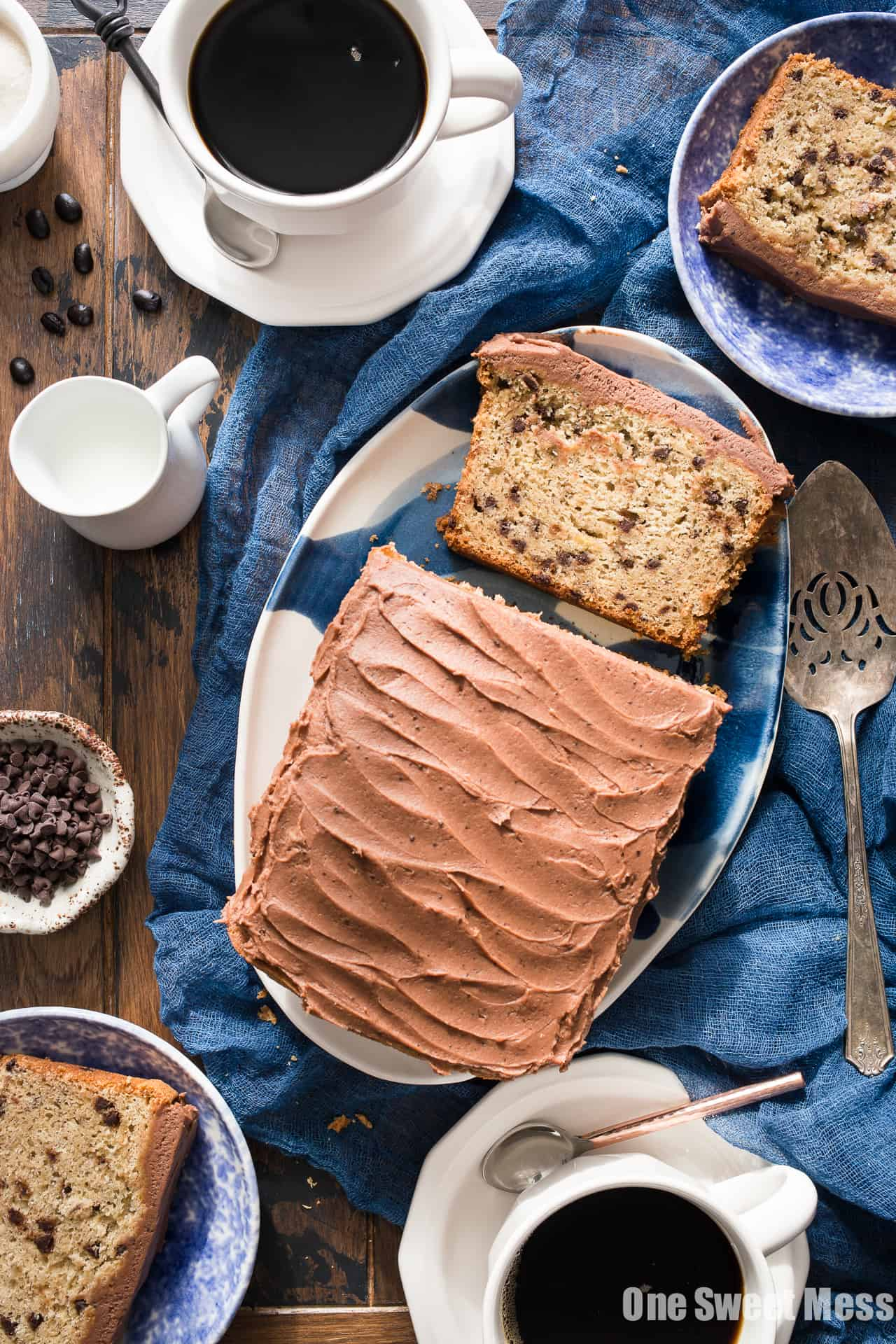 Gluten-Free Chocolate Chip Banana Bread with Mocha Buttercream