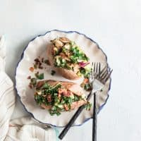 Grilled Chicken & Sweet Kale Salad Stuffed Sweet Potatoes: Loaded with grilled poppy seed dressing glazed chicken and topped with sweet kale salad tossed in warm bacon vinaigrette. Hearty, healthy and gluten-free.