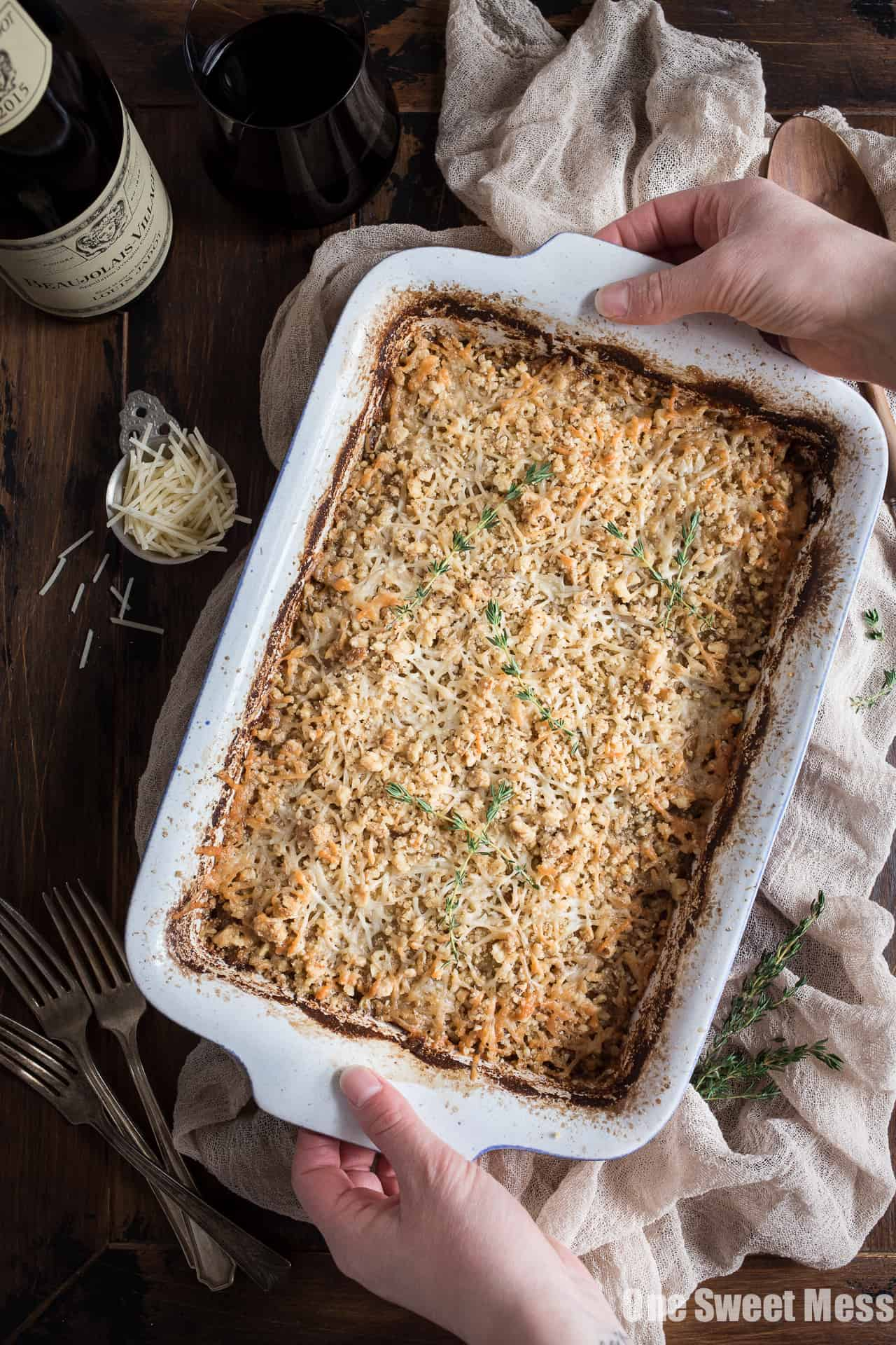 Potato Leek Gratin: This creamy spring side dish is loaded with cheese and topped with a toasted walnut crumble.