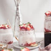 Strawberries and Cream Overnight Oatmeal {Gluten-Free + Vegan Option)