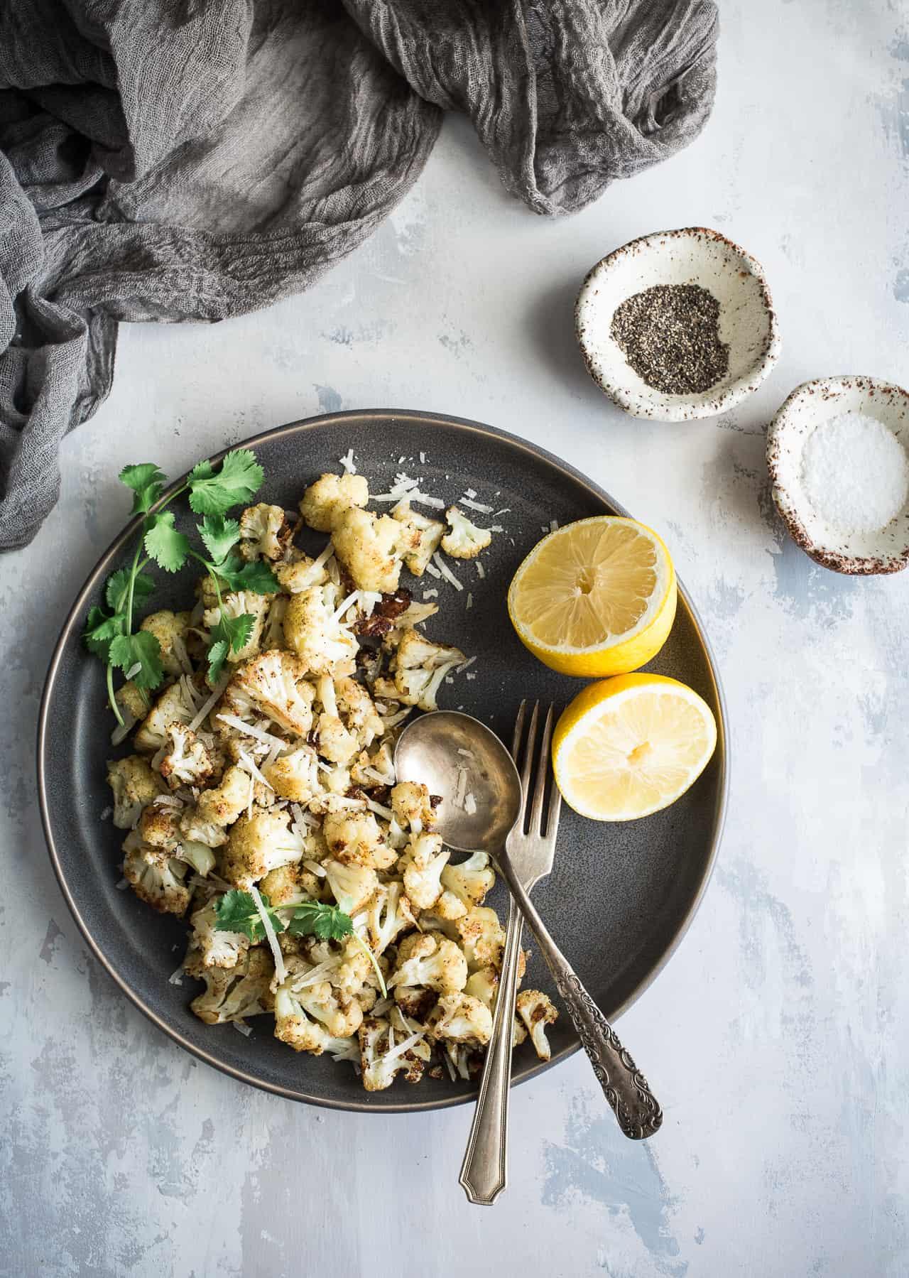 Lemon Pepper Parmesan Roasted Cauliflower