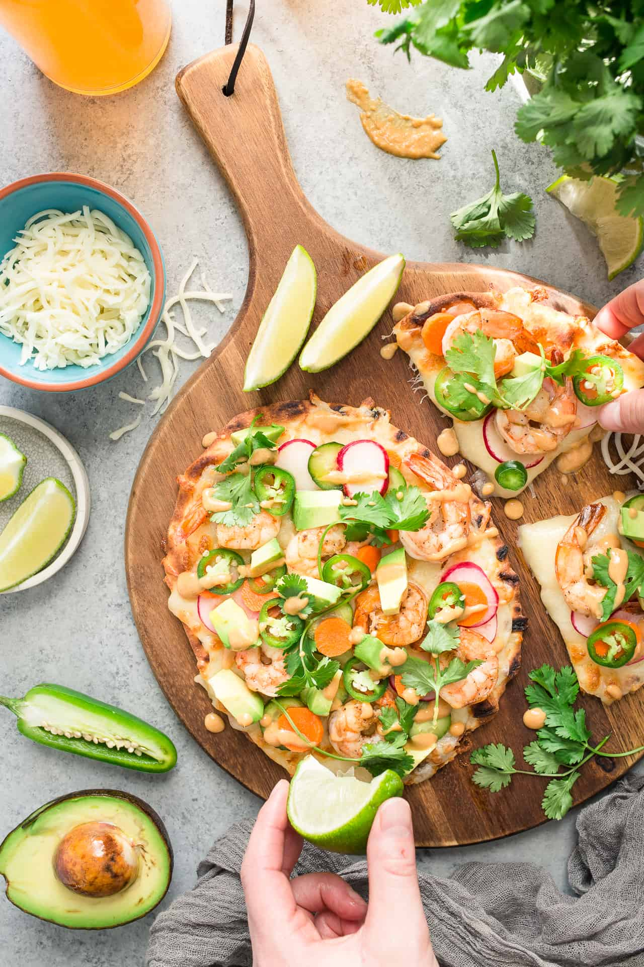 Shrimp Banh Mi Flatbread Pizza